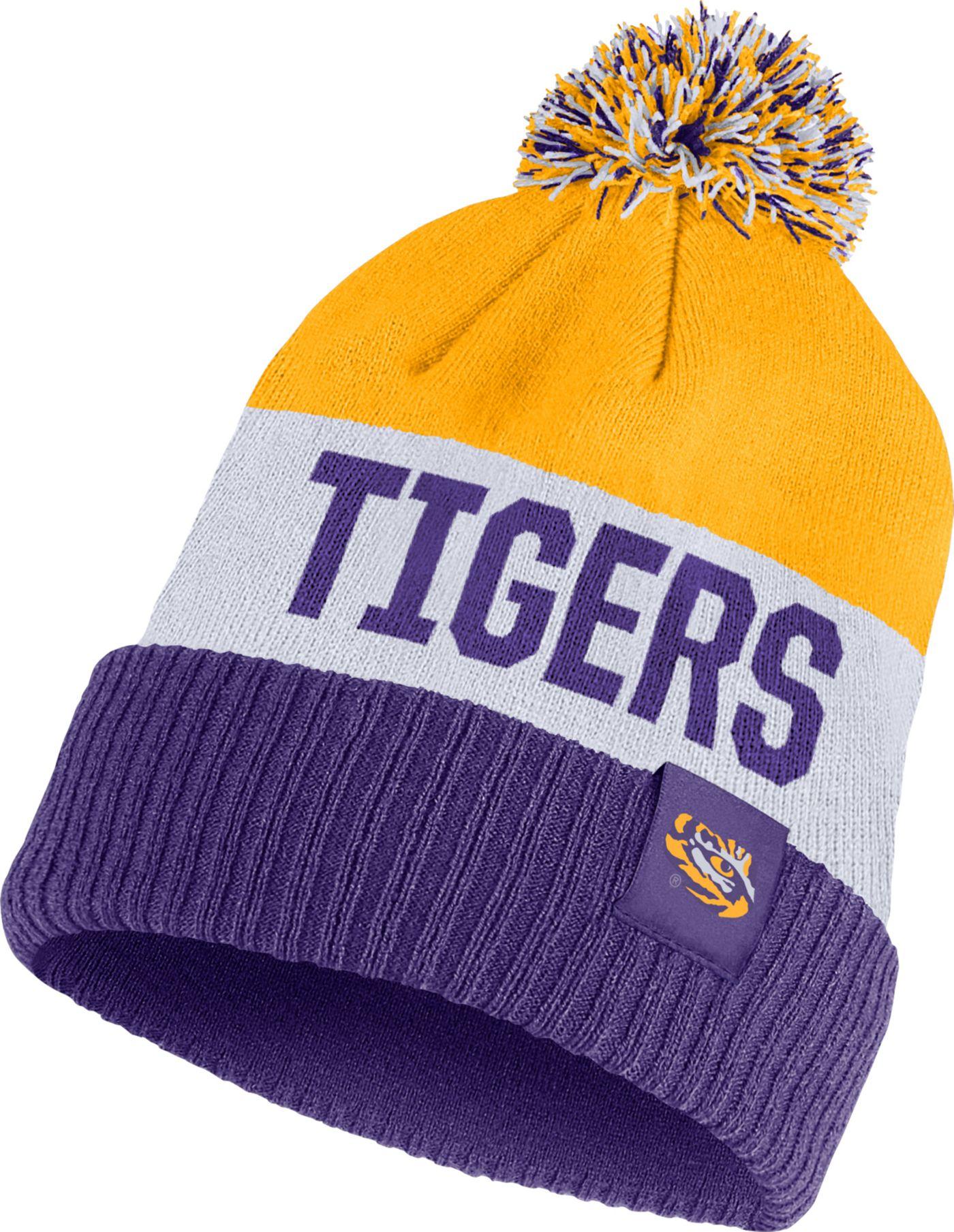 Nike Men's LSU Tigers Gold/White/Purple Striped Cuffed Pom Beanie