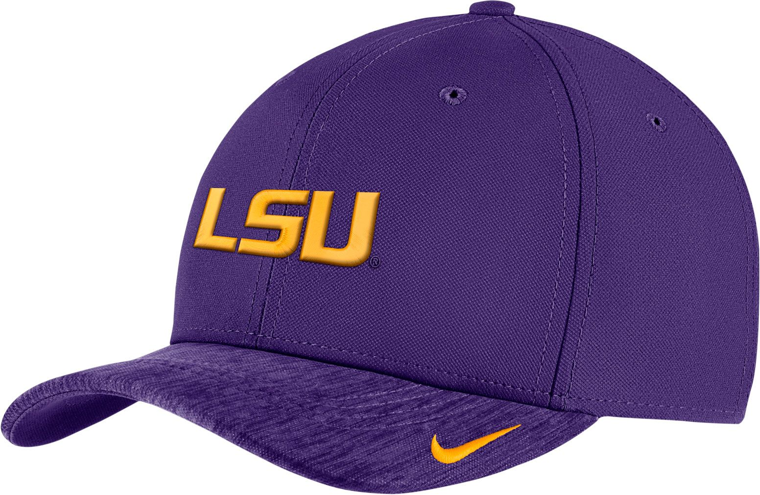 huge selection of fd5f7 5e387 ... real nike mens lsu tigers purple aerobill swoosh flex classic99  football sideline hat f8c14 06bb0