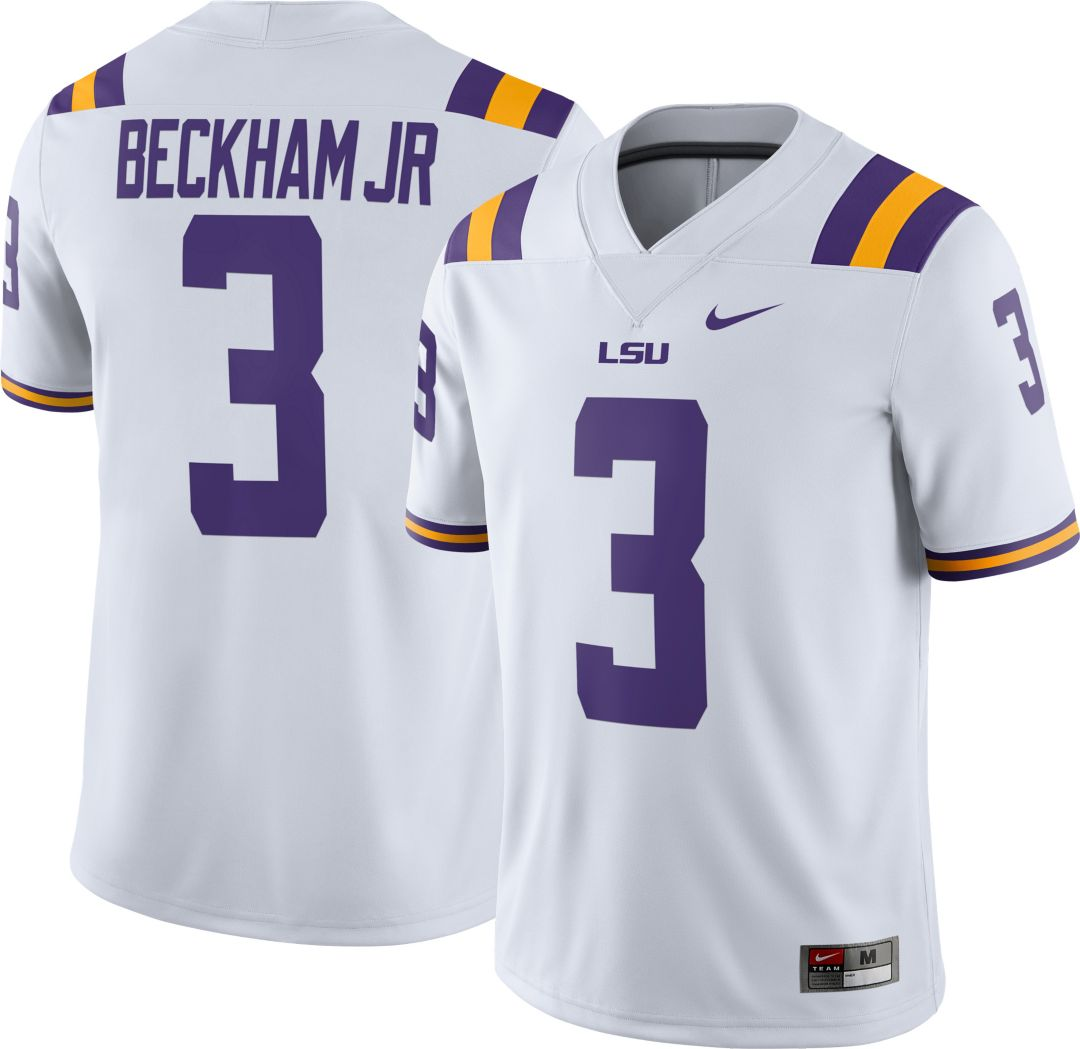 info for c5aa8 b121b Nike Men's Odell Beckham Jr. LSU Tigers #3 Dri-FIT Game Football White  Jersey