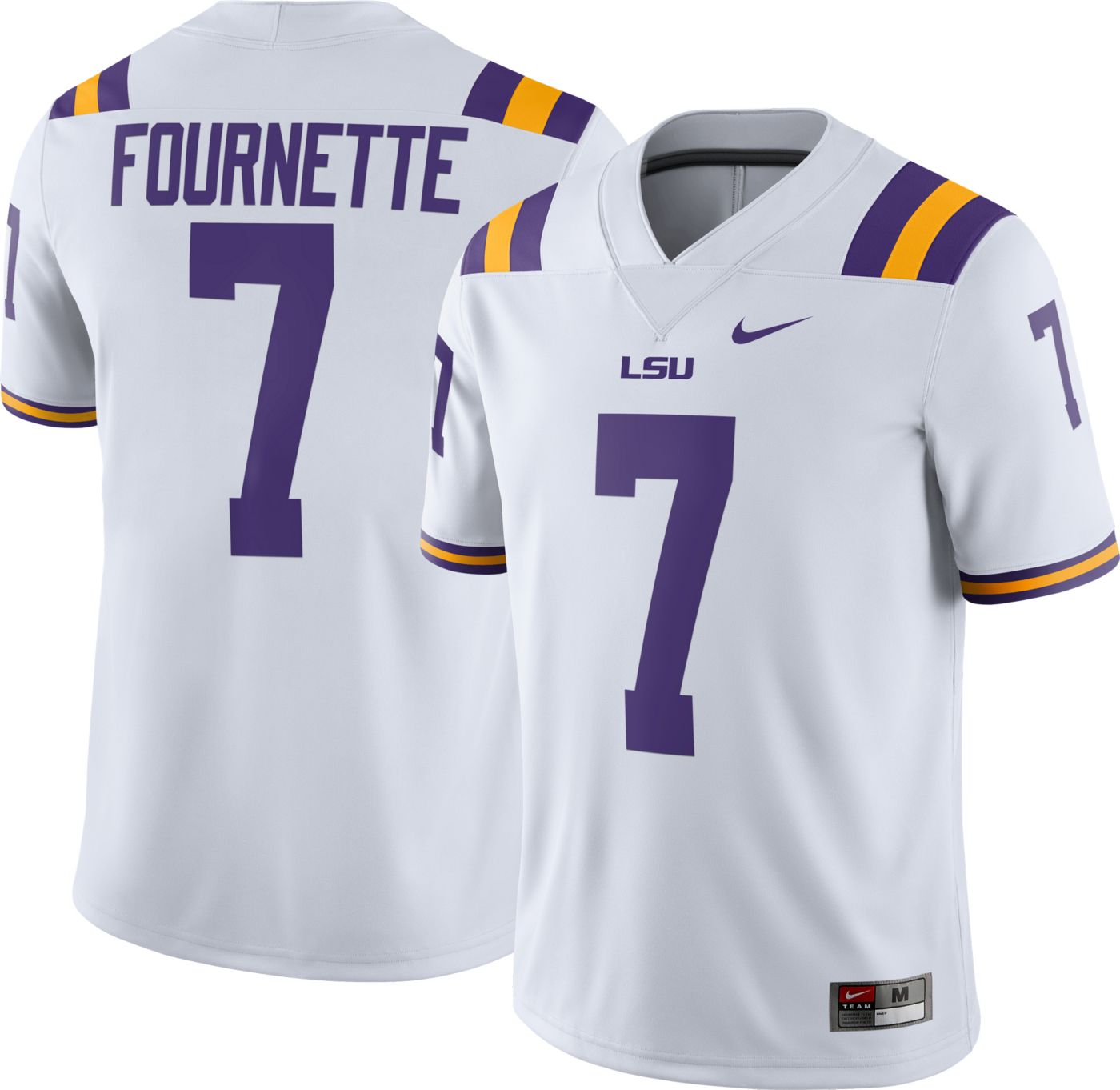 Nike Men's Leonard Fournette LSU Tigers #7 Dri-FIT Game Football White Jersey