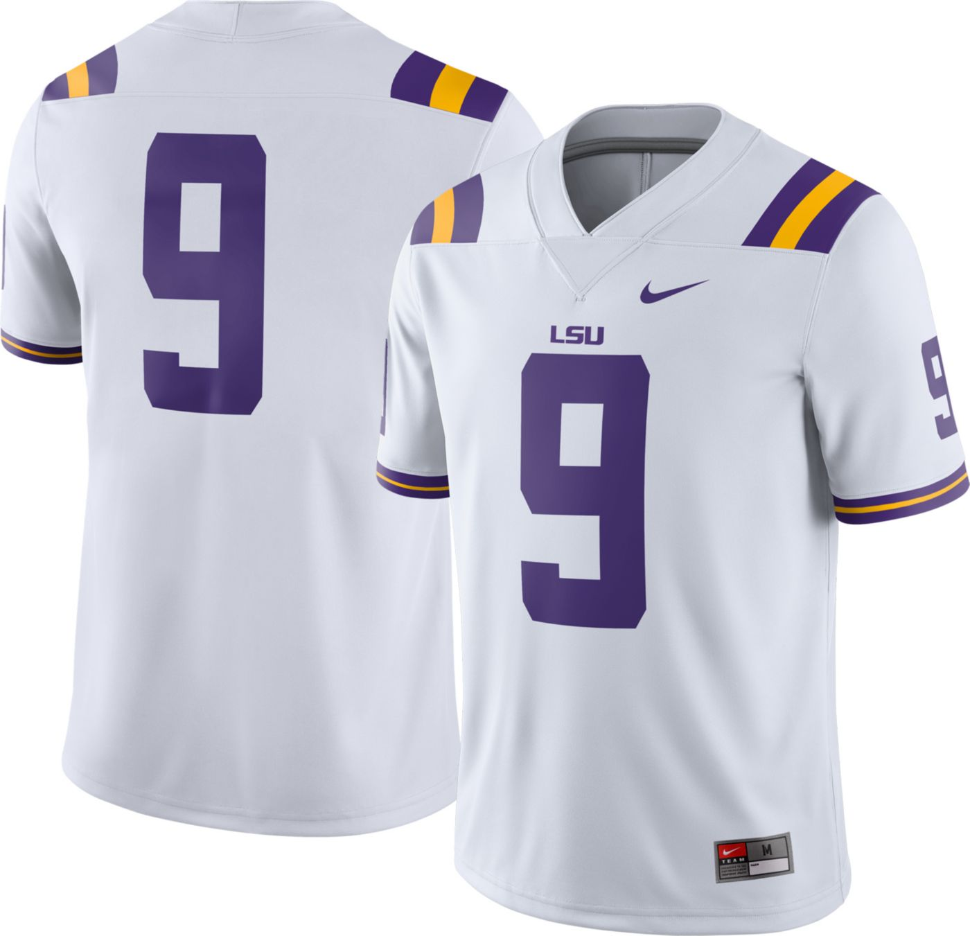 Nike Men's LSU Tigers #9 Dri-FIT Game Football White Jersey