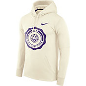 Nike Men's LSU Tigers Therma-FIT Rival White Pullover Hoodie