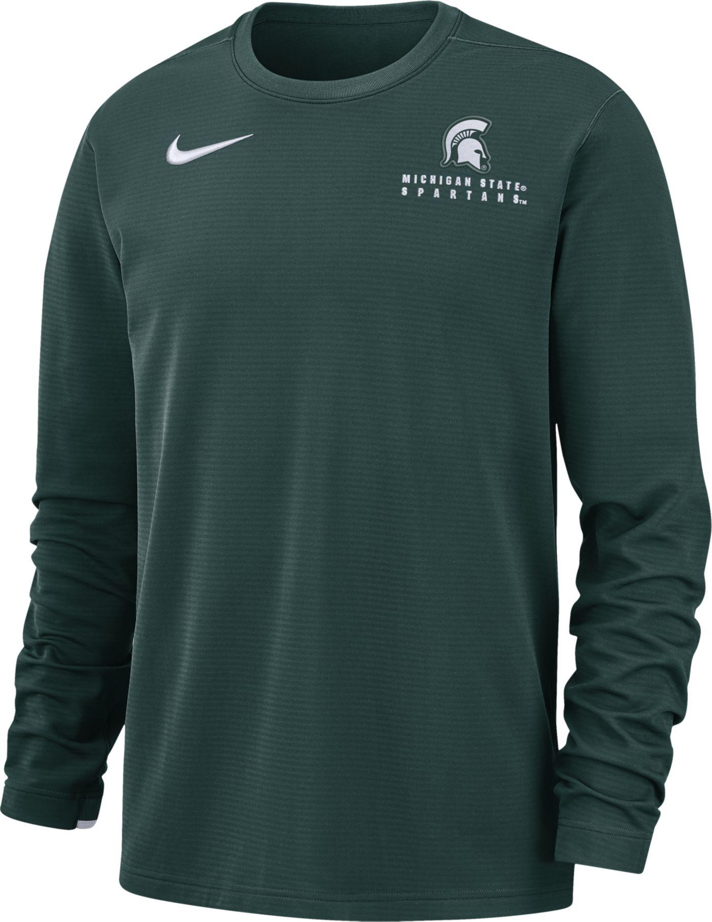 Nike Men's Michigan State Spartans Green Dri-FIT Modern Long Sleeve Crew Neck T-Shirt
