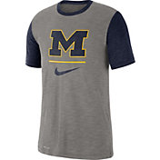 93bb0ebbf0a Product Image · Nike Men's Michigan Wolverines Grey Dri-FIT Baseball Slub T- Shirt