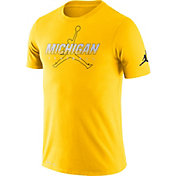 Jordan Men's Michigan Wolverines Maize Football Dri-FIT Cotton Facility T-Shirt