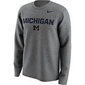 Nike Men's Michigan Wolverines Grey Lockup Long Sleeve Shirt