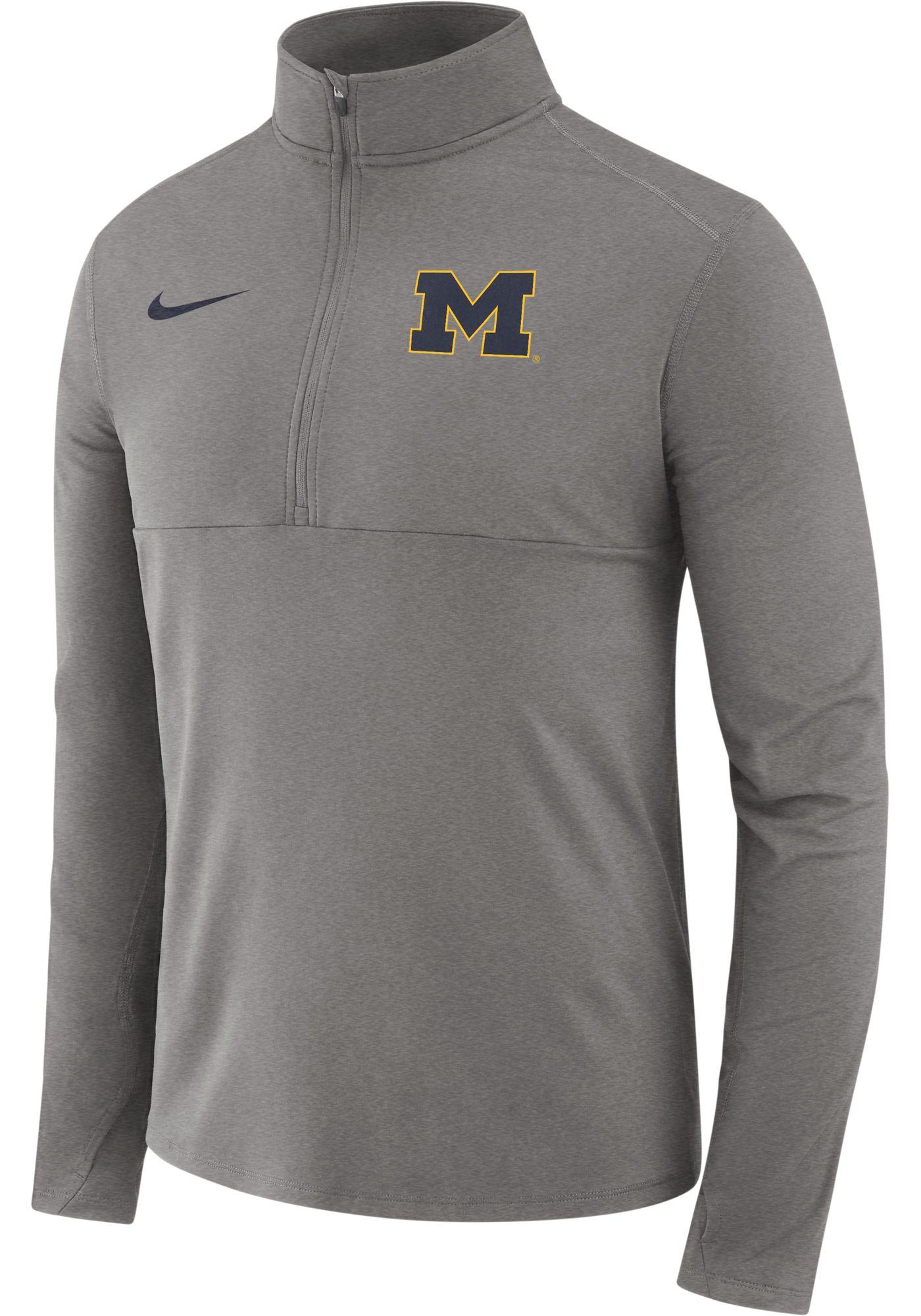 Nike Men's Michigan Wolverines Grey Long Sleeve Core Half-Zip Shirt