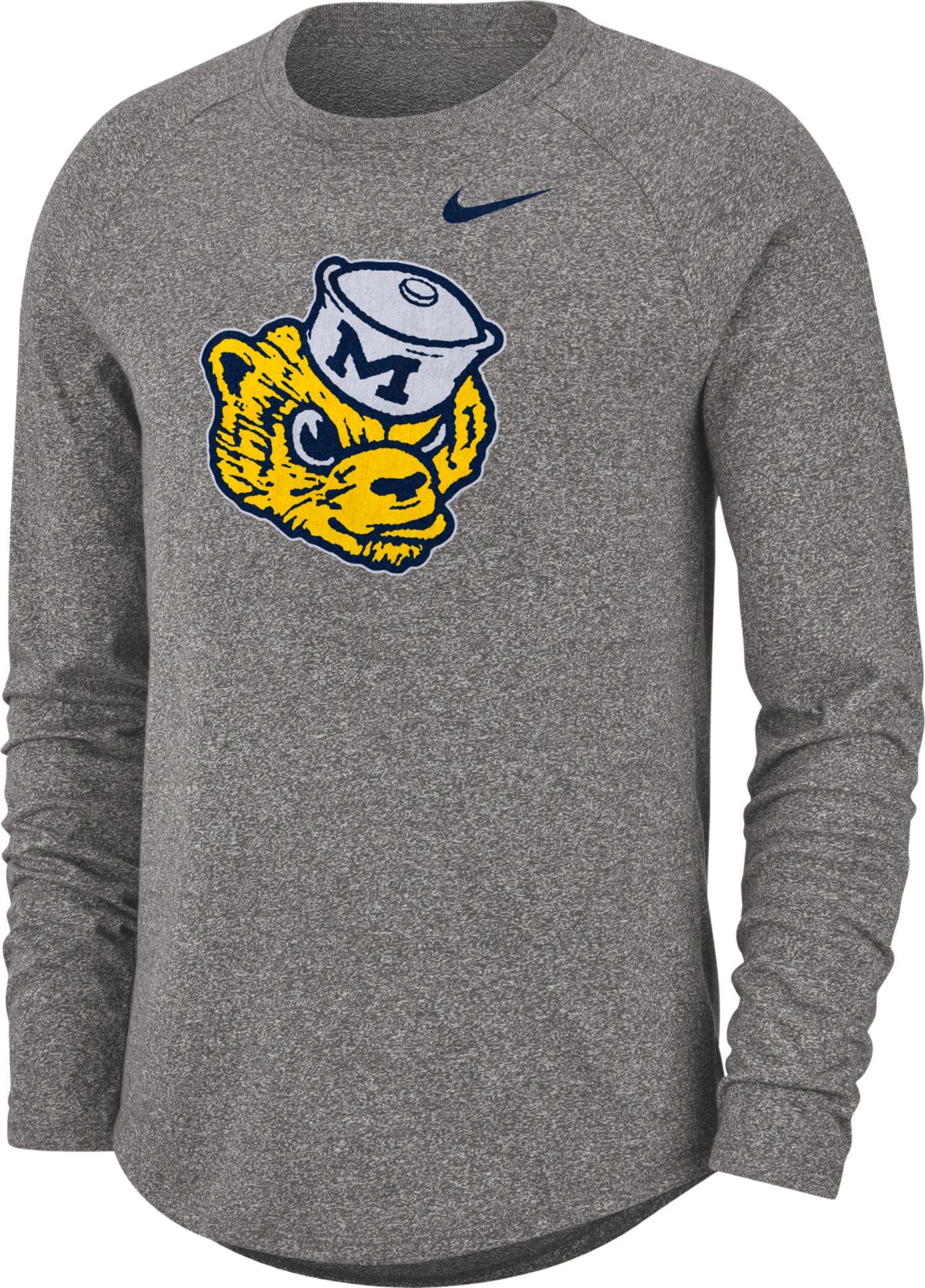 Nike Men's Michigan Wolverines Grey Marled Raglan Long Sleeve T-Shirt