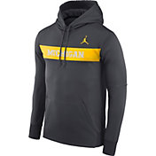 Jordan Men's Michigan Wolverines Anthracite Therma-FIT Pullover Sideline Hoodie