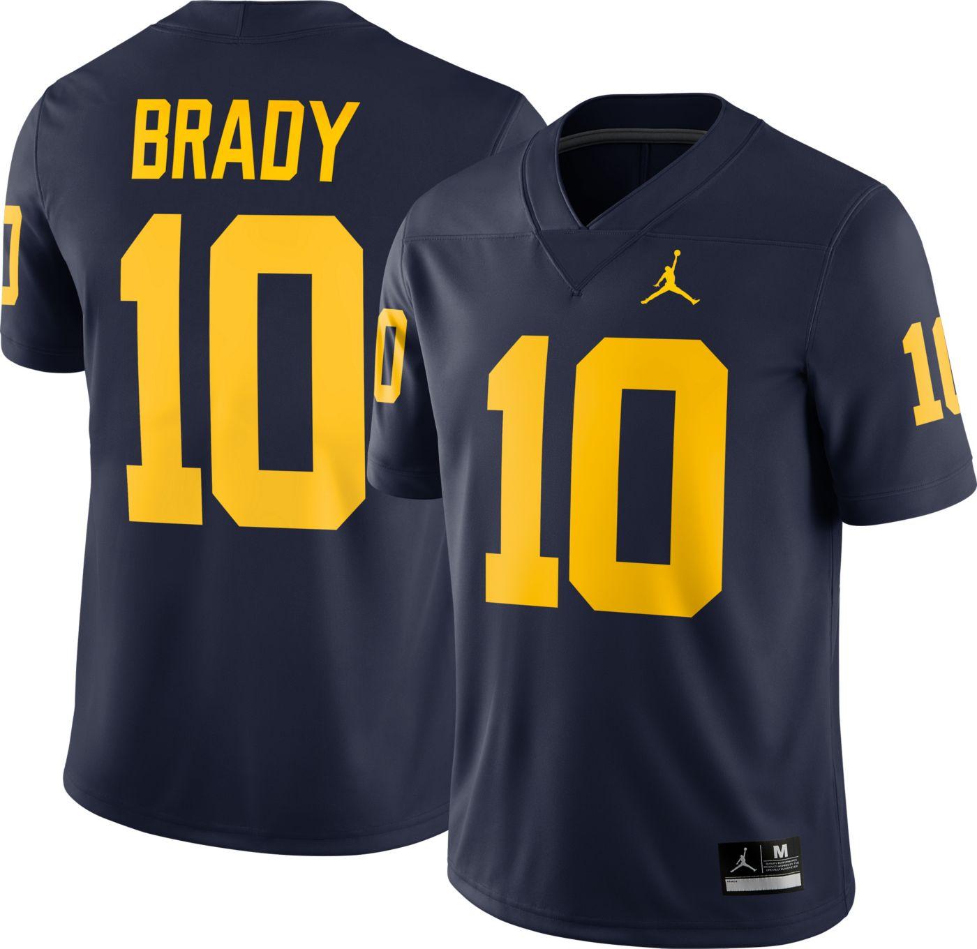 Jordan Men's Tom Brady Michigan Wolverines #10 Blue Dri-FIT Game Football Jersey