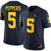 Jordan Men's Jabrill Peppers Michigan Wolverines #5 Blue Dri-FIT Game Football Jersey