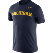Nike Men's Michigan Wolverines Blue Dri-FIT Cotton Word T-Shirt