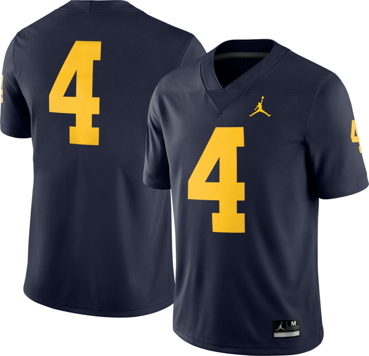 Jordan Men's Michigan Wolverines #4 Blue Dri-FIT Game Football Jersey