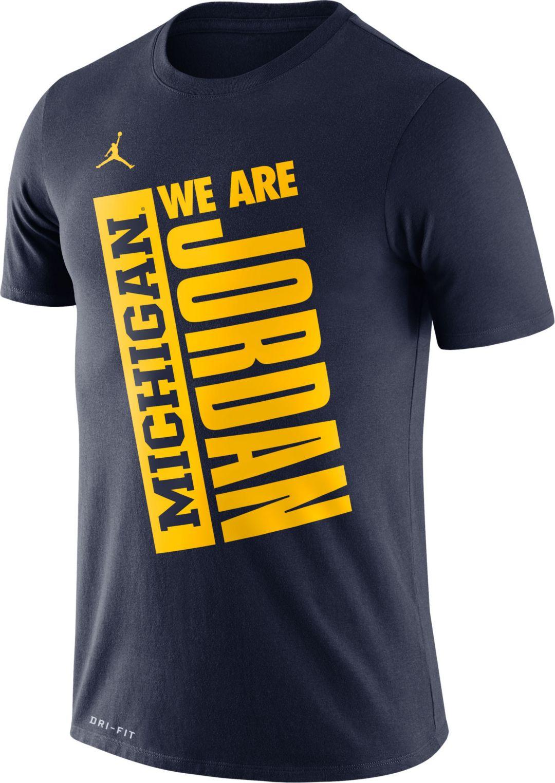 Michigan Jordan Gear >> Jordan Men S Michigan Wolverines Blue Dri Fit Performance Basketball T Shirt
