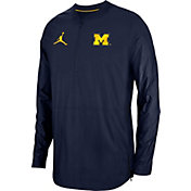 Jordan Men's Michigan Wolverines Blue Lockdown Football Quarter-Zip Jacket