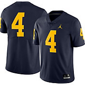Jordan Men's Michigan Wolverines #4 Blue Dri-FIT Limited Football Jersey