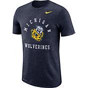 Nike Men's Michigan Wolverines Blue Marled Raglan T-Shirt