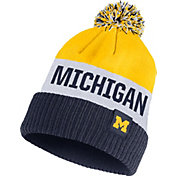 Nike Men's Michigan Wolverines Maize/White/Blue Striped Cuffed Pom Beanie