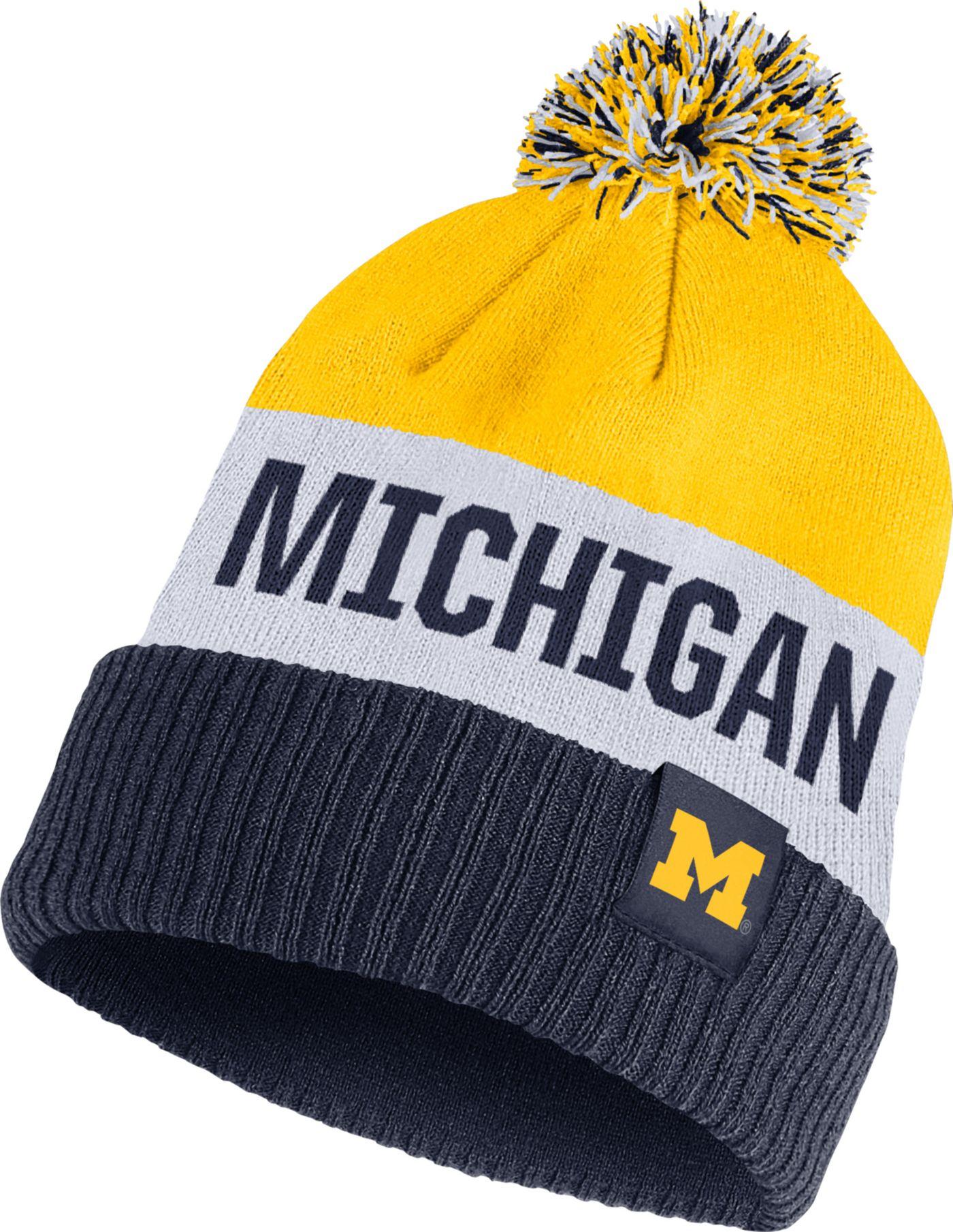 Nike Men's Michigan Wolverines Maize/White/Blue Striped Cuffed Pom Beanie