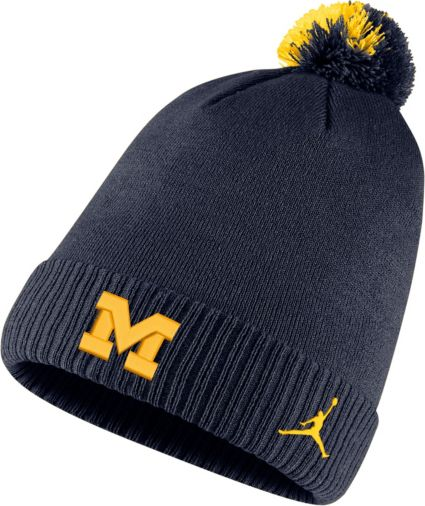 af7f843b canada jordan mens michigan wolverines blue football sideline pom beanie  5c3c2 885ca