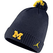 Jordan Men's Michigan Wolverines Blue Football Sideline Pom Beanie