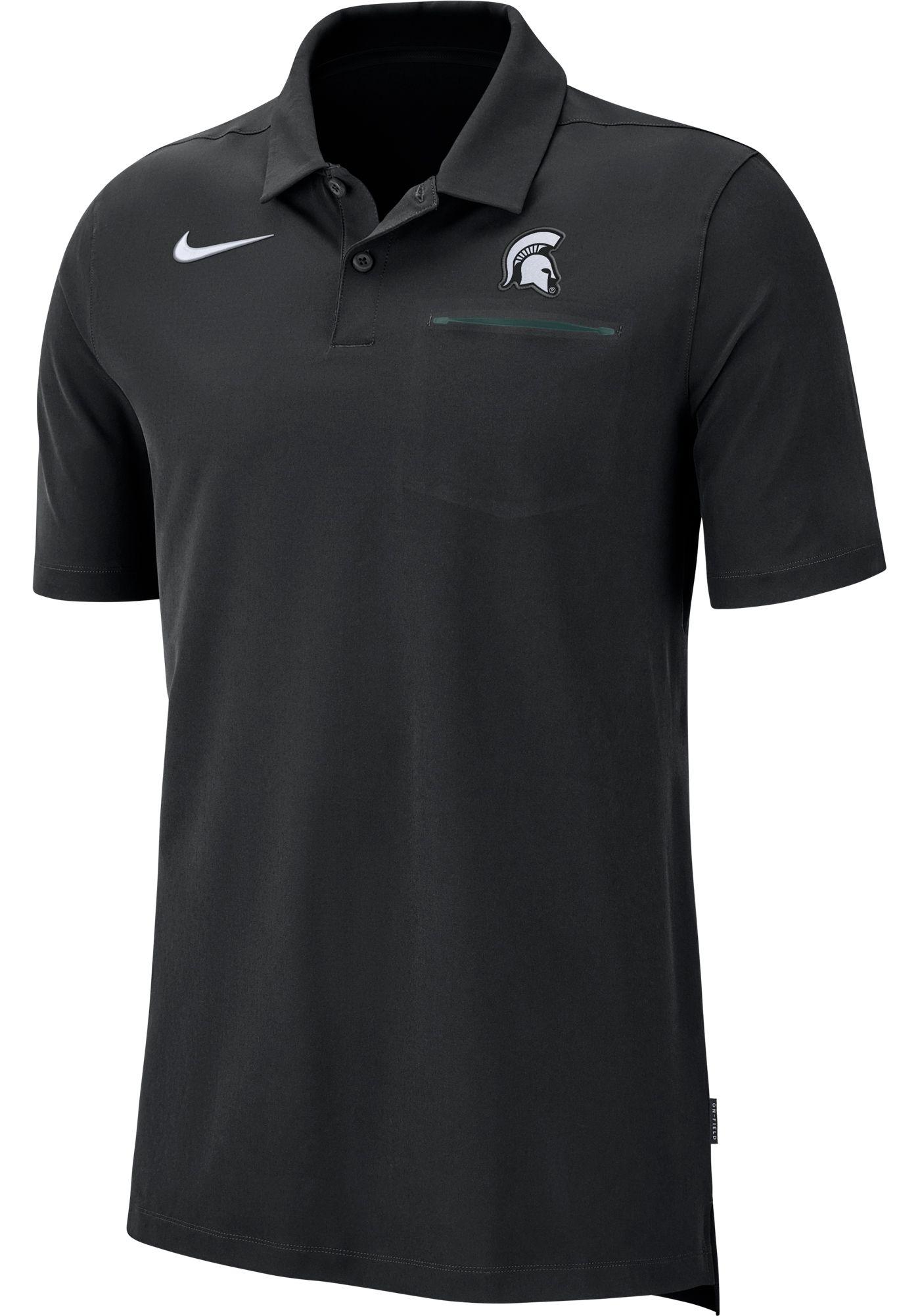 Nike Men's Michigan State Spartans Dri-FIT Elite Football Sideline Black Polo