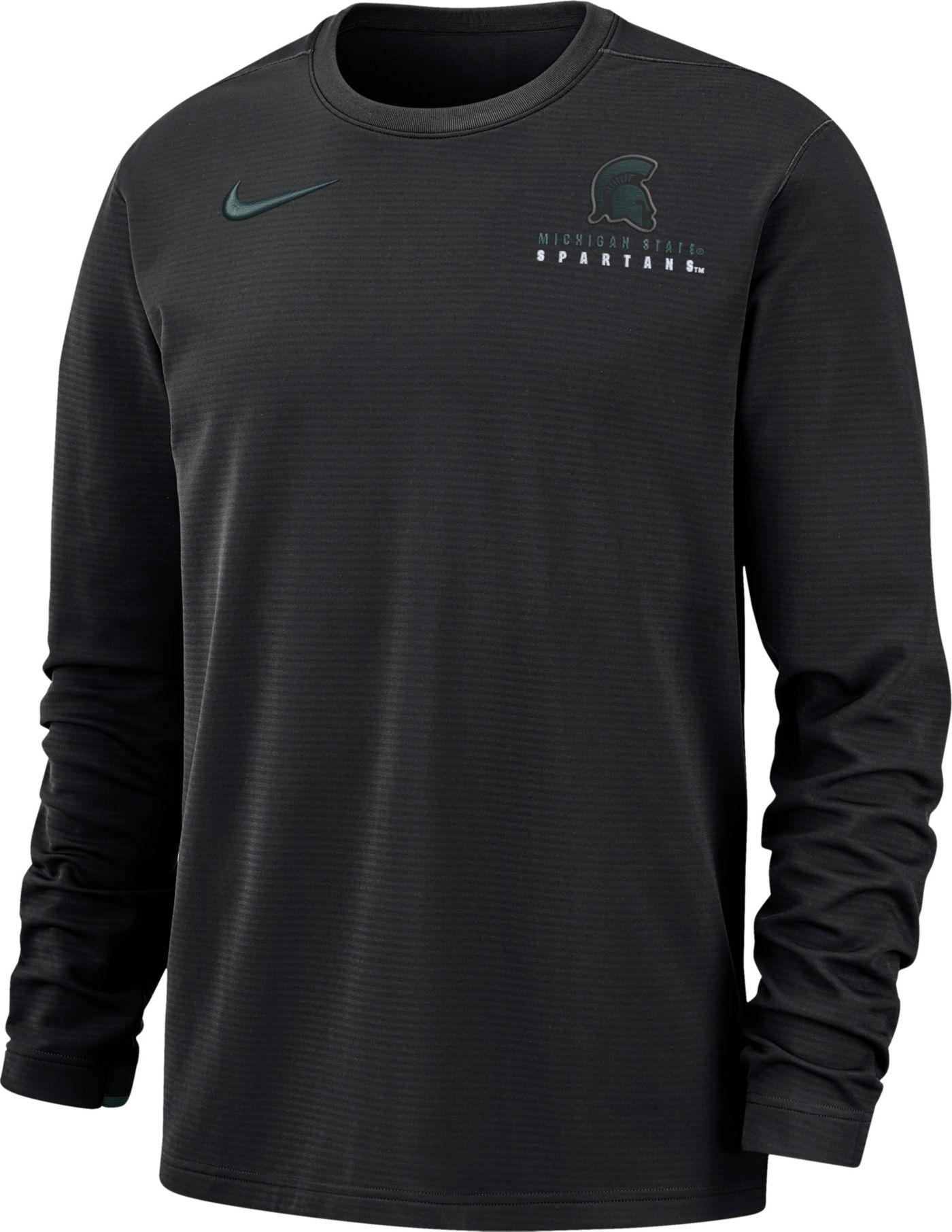 Nike Men's Michigan State Spartans Dri-FIT Modern Long Sleeve Crew Neck Black T-Shirt