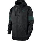 Nike Men's Michigan State Spartans Therma Football Sideline Full-Zip Black Hoodie