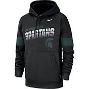 Nike Men's Michigan State Spartans Therma Football Sideline Pullover Black Hoodie