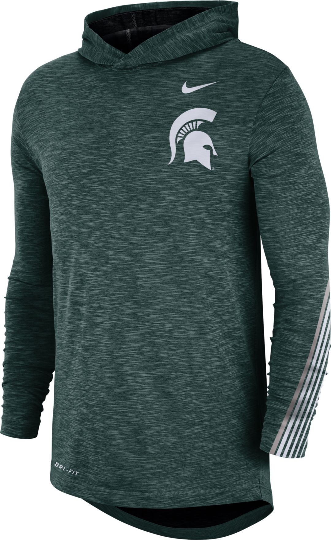 unique design running shoes ever popular Nike Men's Michigan State Spartans Green Cotton Long Sleeve Hoodie T-Shirt