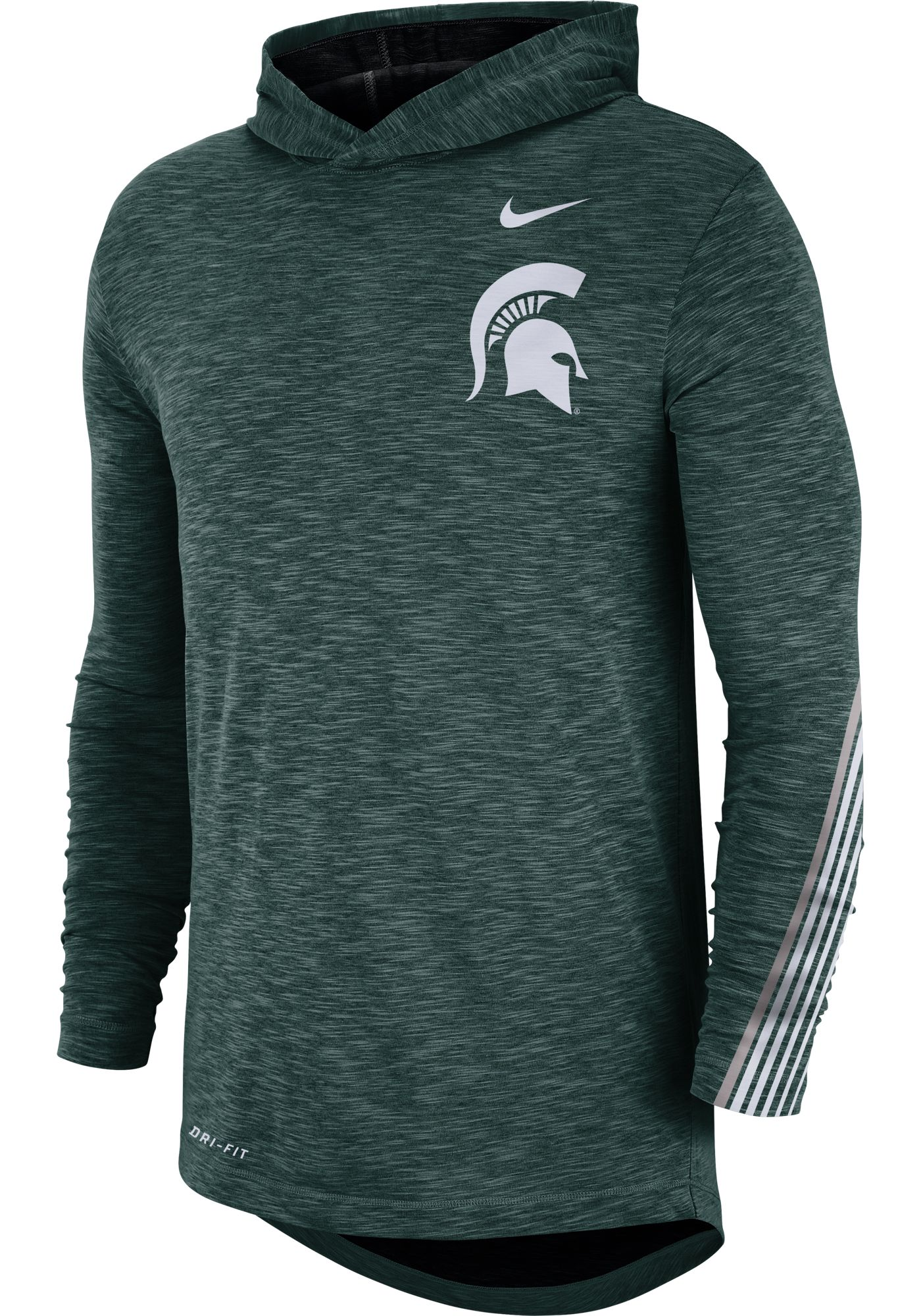 Nike Men's Michigan State Spartans Green Cotton Long Sleeve Hoodie T-Shirt
