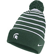 Nike Men's Michigan State Spartans Green Football Sideline Cuffed Pom Beanie