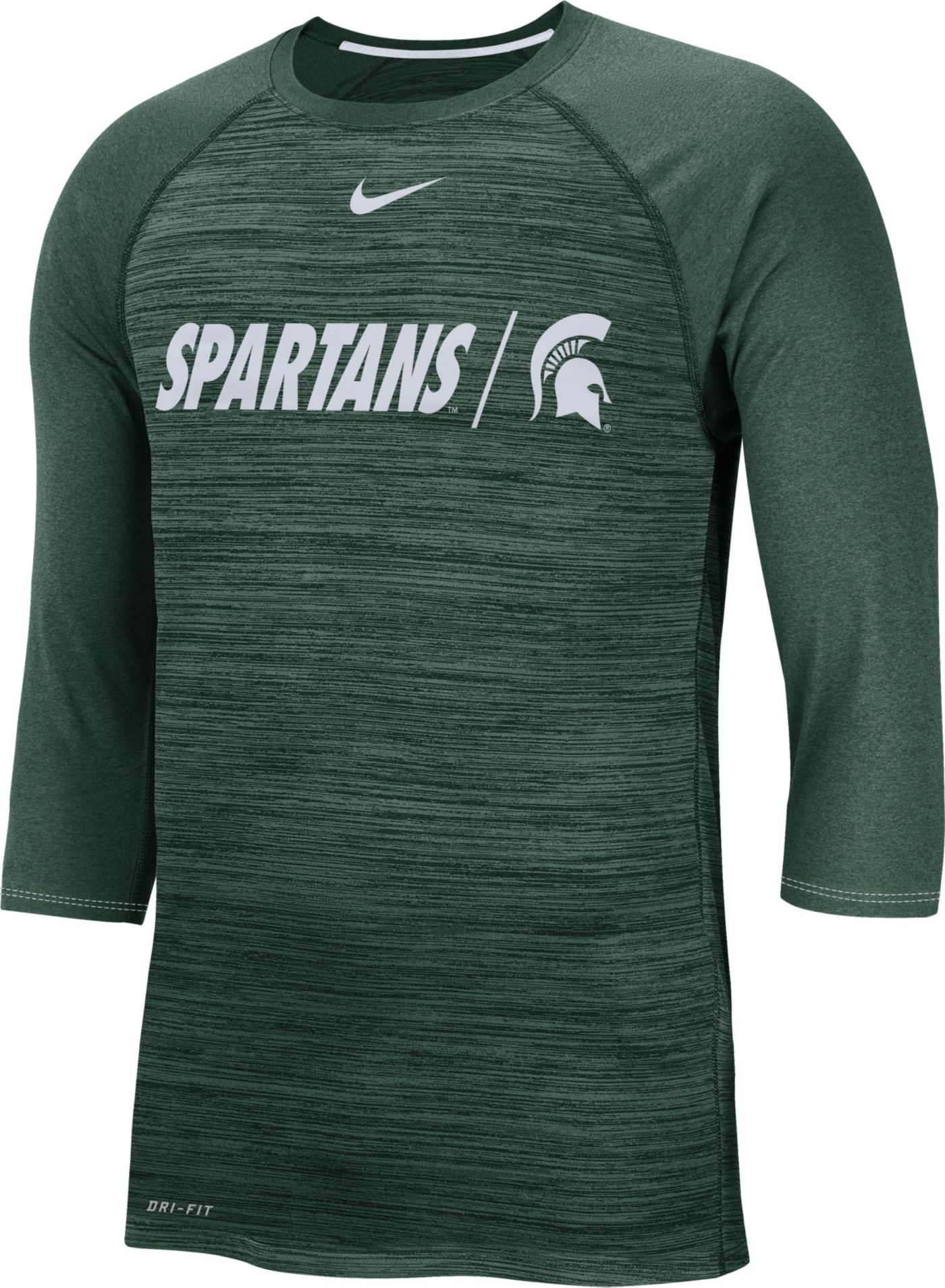 Nike Men's Michigan State Spartans Green Dry Legend 3/4 Sleeve T-Shirt