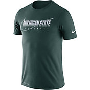 Nike Men's Michigan State Spartans Green Football Dri-FIT Cotton Facility T-Shirt