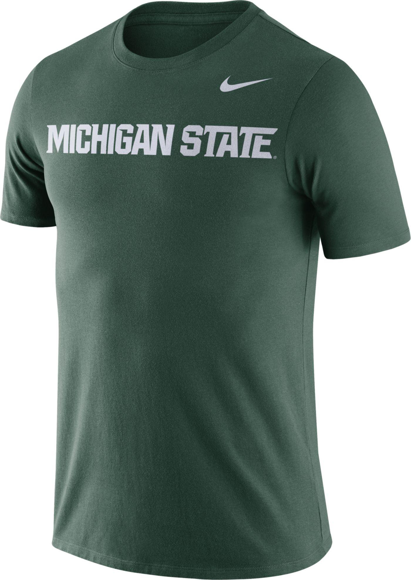 Nike Men's Michigan State Spartans Green Dri-FIT Cotton Word T-Shirt