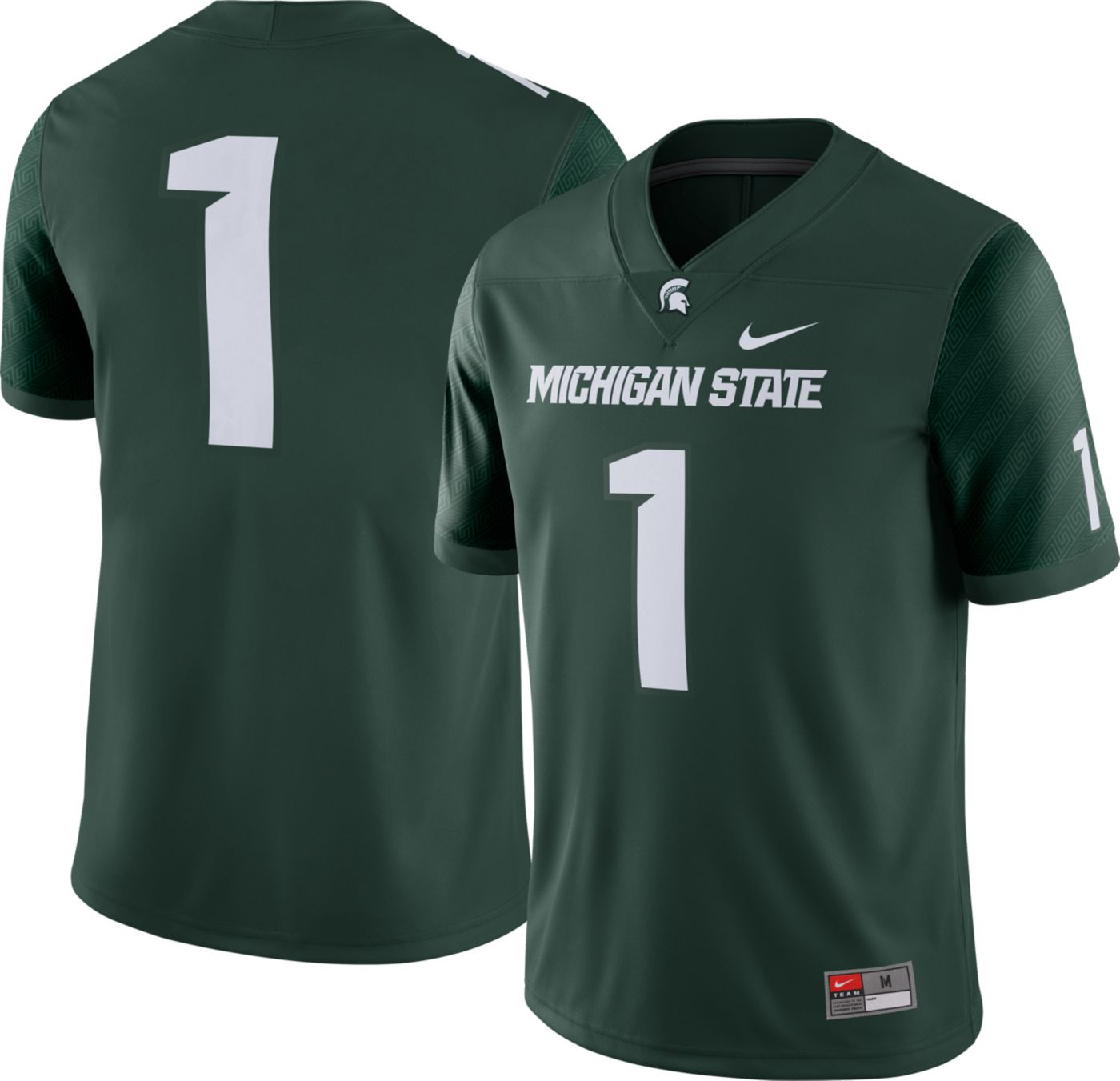 Nike Men's Michigan State Spartans #1 Green Dri-FIT Game Football Jersey
