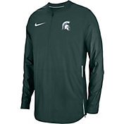 Nike Men's Michigan State Spartans Green Lockdown Football Quarter-Zip Jacket