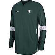 Nike Men's Michigan State Spartans Green Lockdown Half-Zip Football Jacket