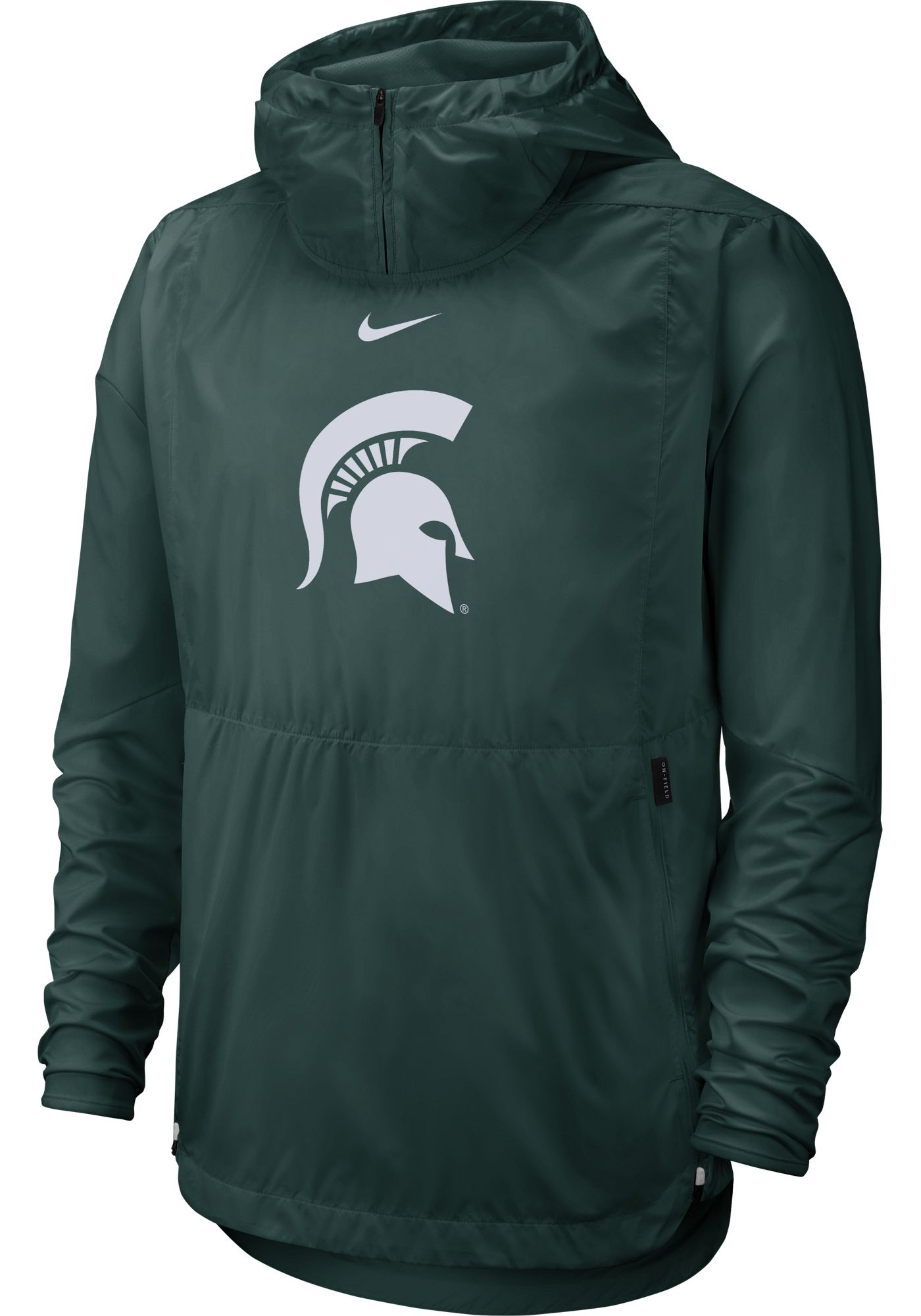 Nike Men's Michigan State Spartans Green Repel Football Sideline Player Pullover Hoodie