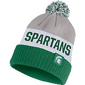 Nike Men's Michigan State Spartans Grey/White/Green Striped Cuffed Pom Beanie