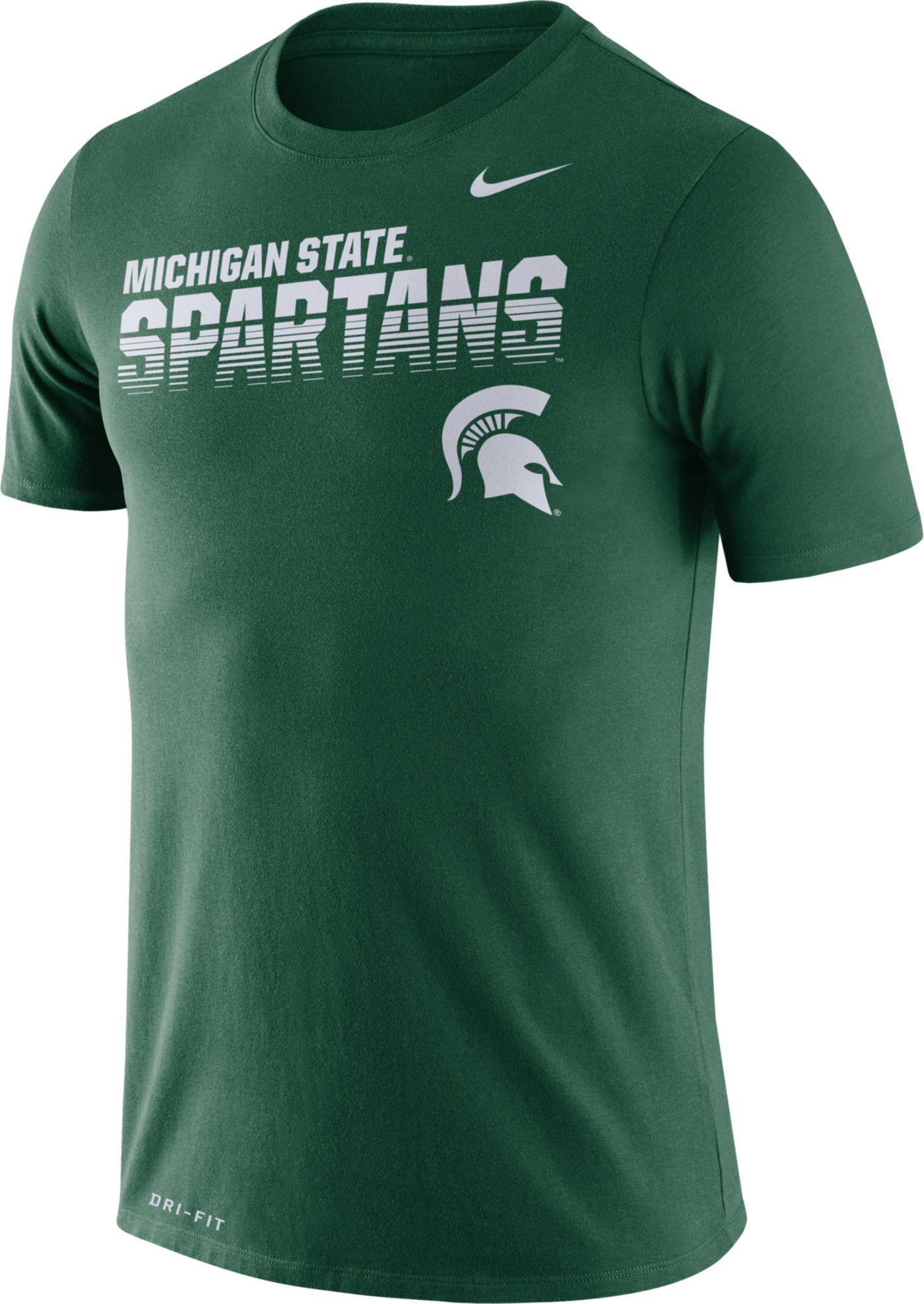 Nike Men's Michigan State Spartans Green Legend Football Sideline T-Shirt