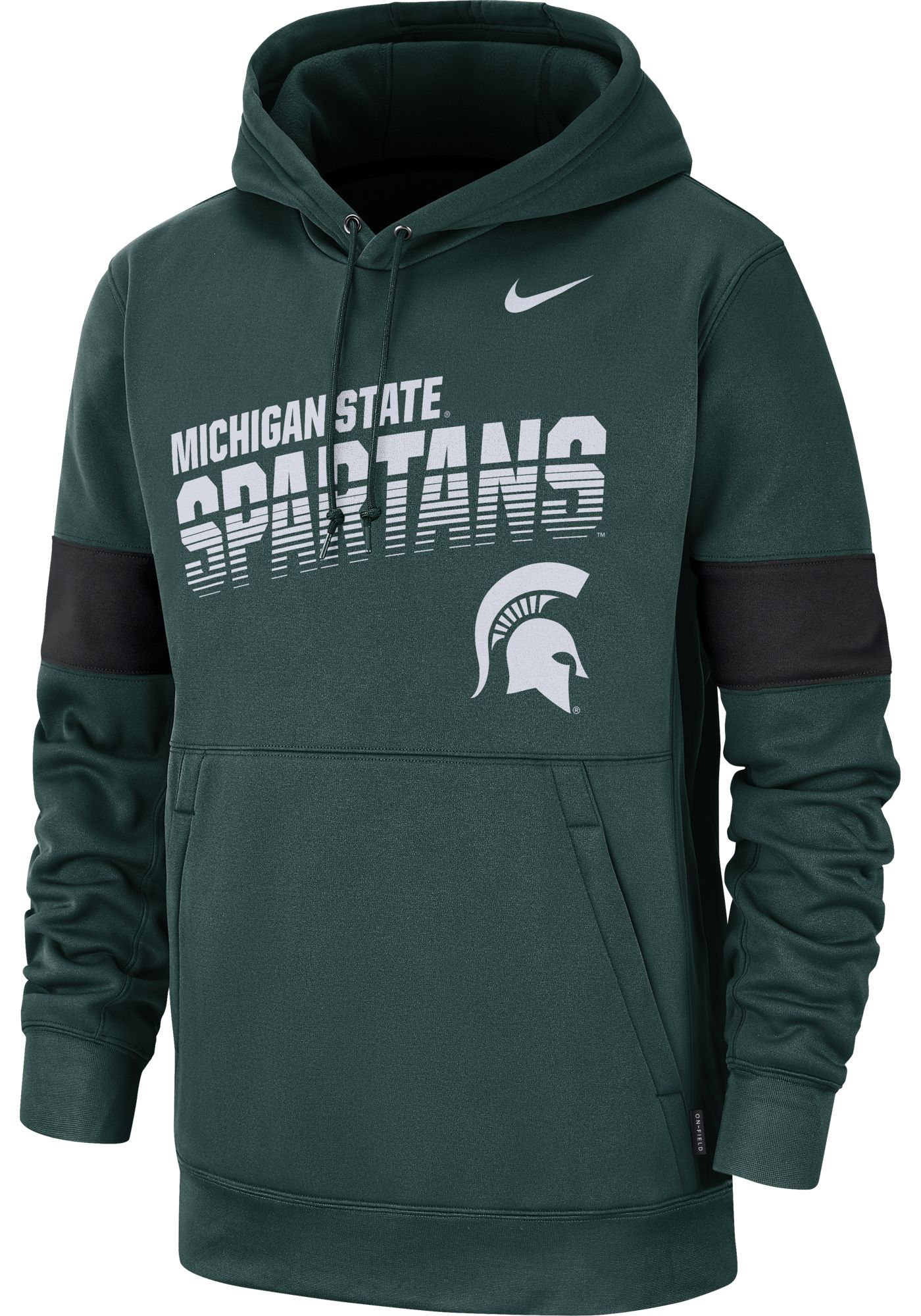 Nike Men's Michigan State Spartans Green Therma Football Sideline Pullover Hoodie