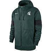 Nike Men's Michigan State Spartans Green Therma Football Sideline Full-Zip Hoodie