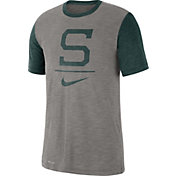 Nike Men's Michigan State Spartans Grey Dri-FIT Baseball Slub T-Shirt
