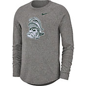 Nike Men's Michigan State Spartans Grey Marled Raglan Long Sleeve T-Shirt