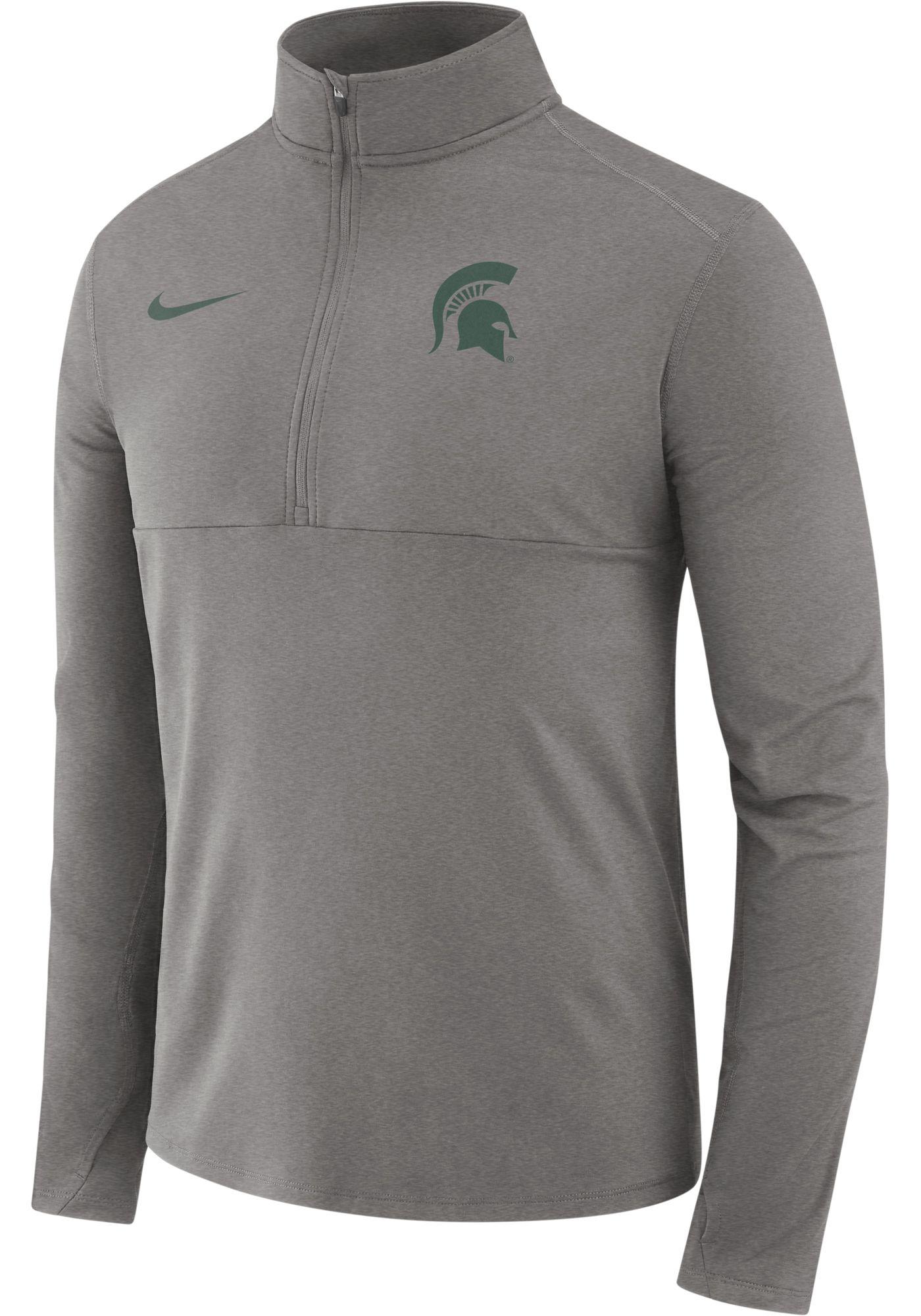 Nike Men's Michigan State Spartans Grey Long Sleeve Core Half-Zip Shirt