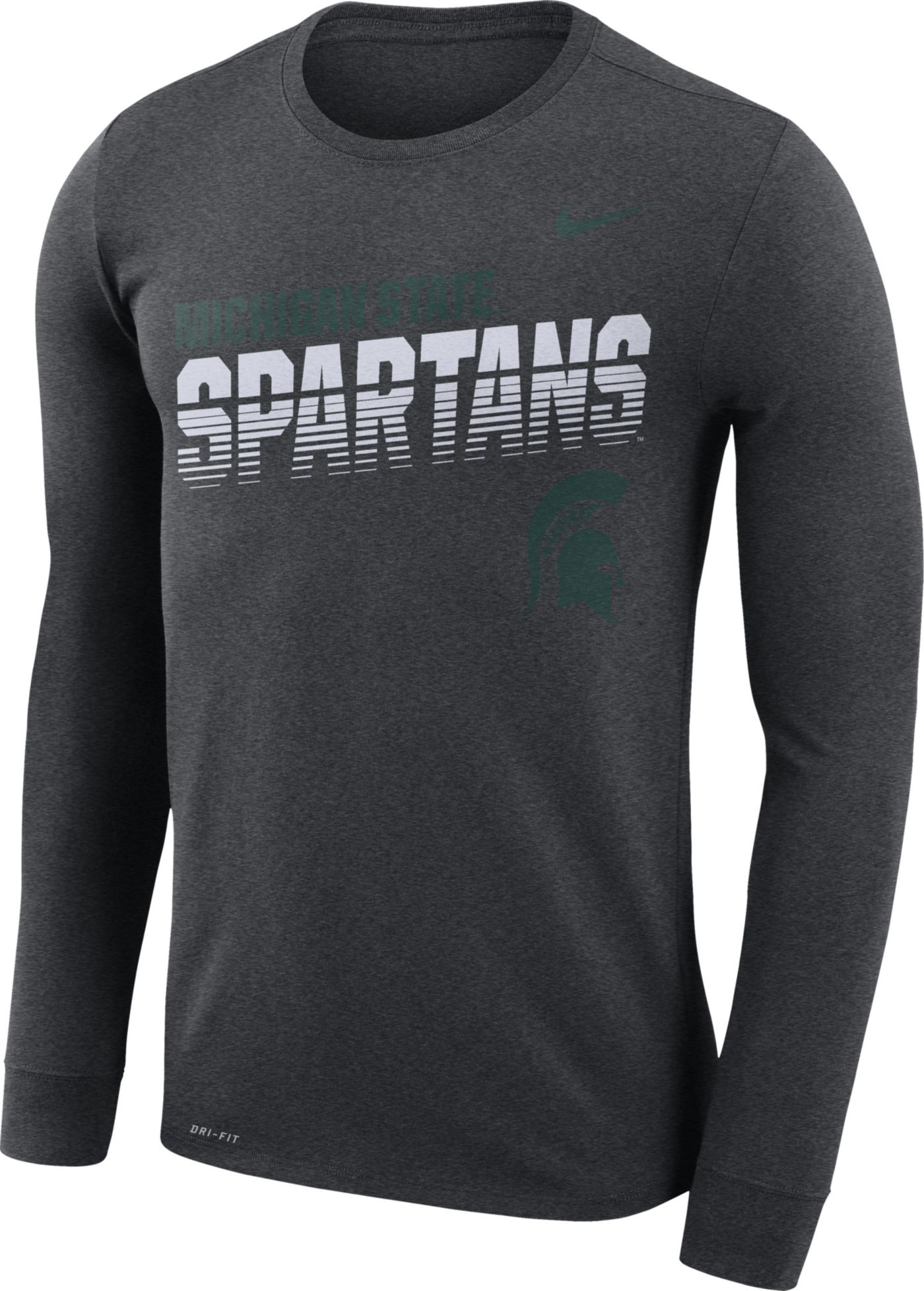 Nike Men's Michigan State Spartans Grey Legend Football Sideline Long Sleeve T-Shirt