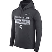 Nike Men's Michigan State Spartans Grey Therma-FIT Pullover Sideline Hoodie