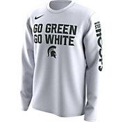 Nike Men's Michigan State Spartans 'Go Green Go White' Bench Legend Long Sleeve White T-Shirt