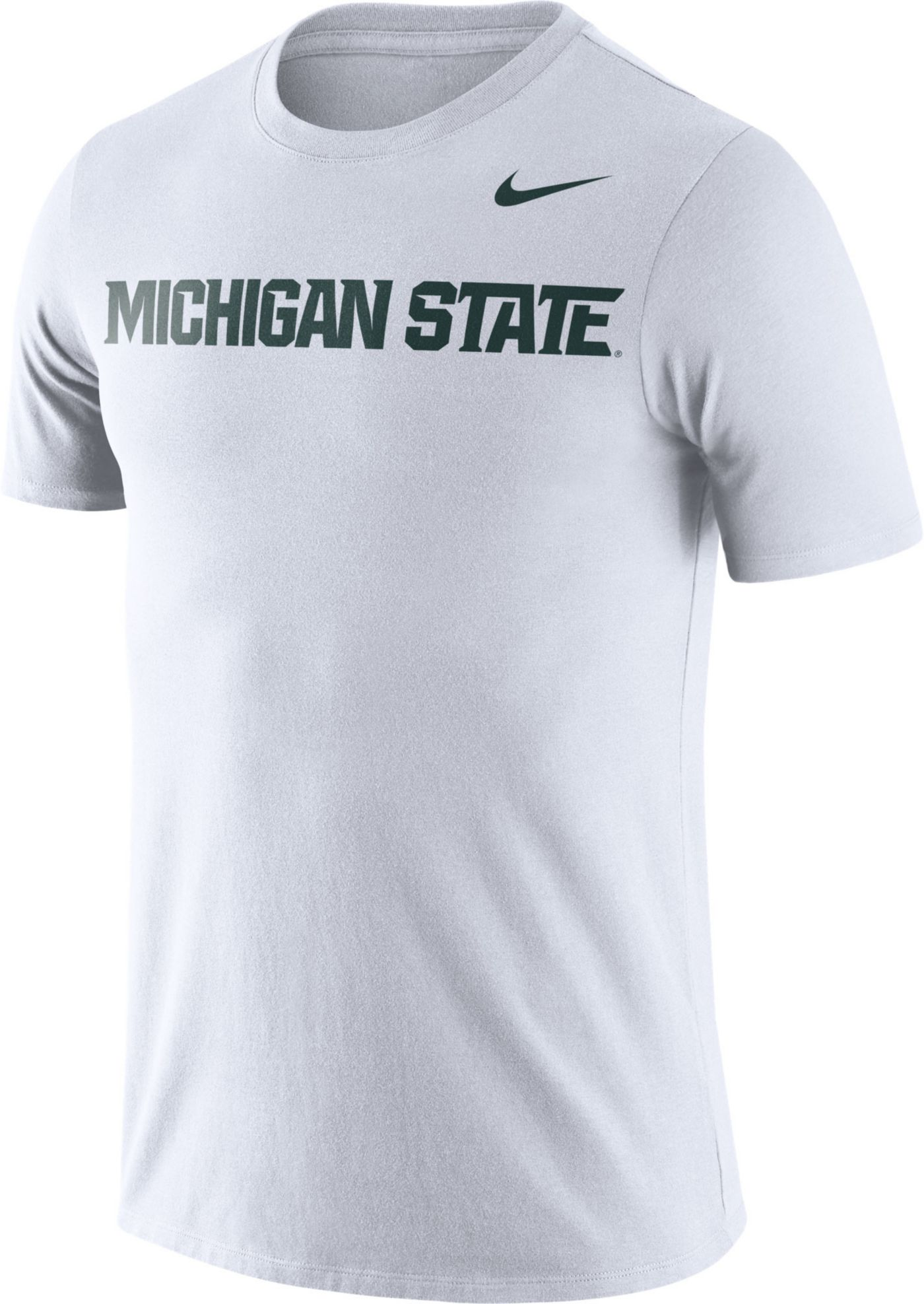 Nike Men's Michigan State Spartans Dri-FIT Cotton Word White T-Shirt